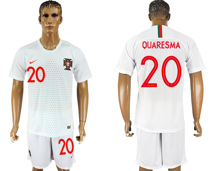 Men 2018 World Cup Portugal away 20 white soccer jersey