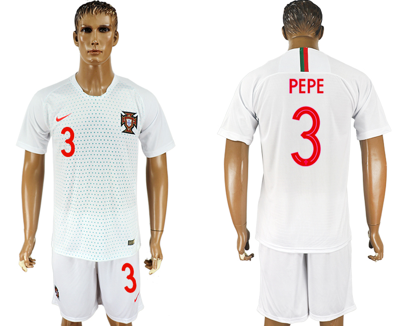 Men 2018 World Cup Portugal away 3 white soccer jersey