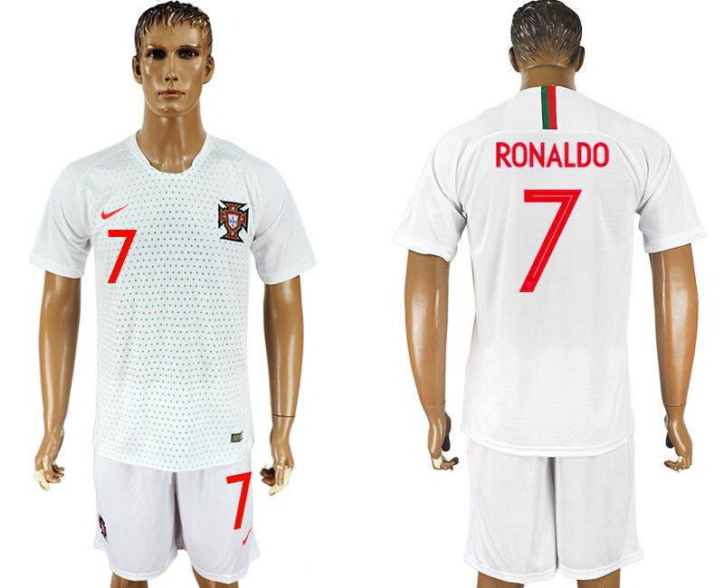 Men 2018 World Cup Portugal away 7 white soccer jersey