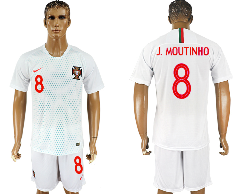 Men 2018 World Cup Portugal away 8 white soccer jersey
