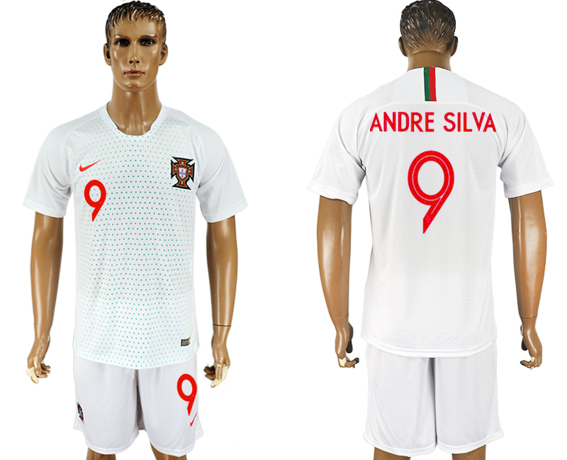 Men 2018 World Cup Portugal away 9 white soccer jersey