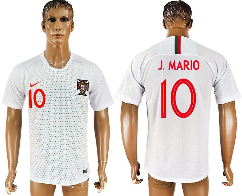 Men 2018 World Cup Portugal away aaa version 10 white soccer jersey