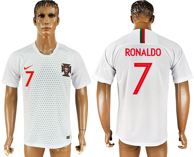 Men 2018 World Cup Portugal away aaa version 7 white soccer jersey1