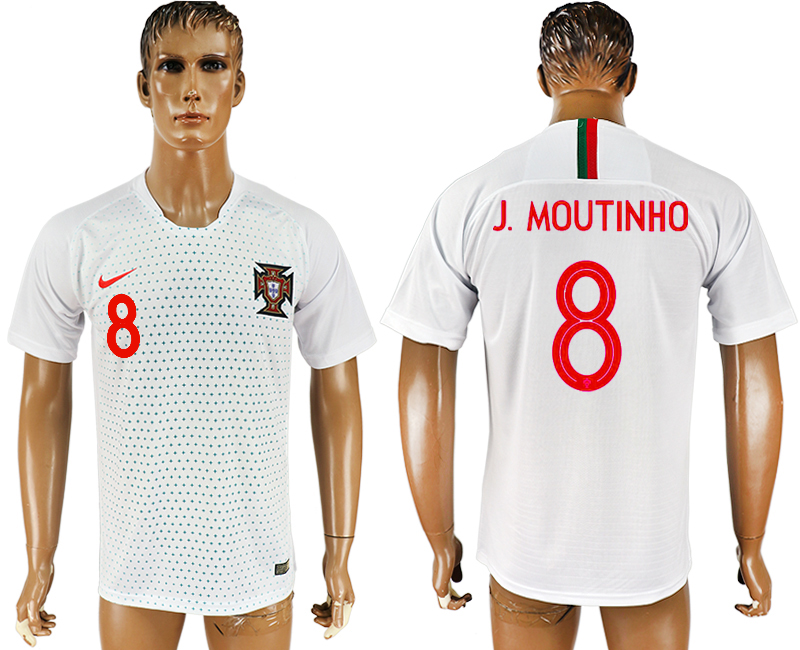 Men 2018 World Cup Portugal away aaa version 8 white soccer jersey