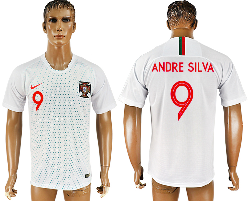 Men 2018 World Cup Portugal away aaa version 9 white soccer jersey