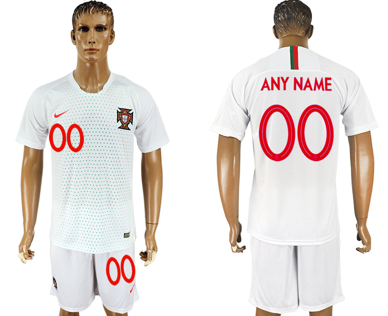 Men 2018 World Cup Portugal away customized white soccer jersey