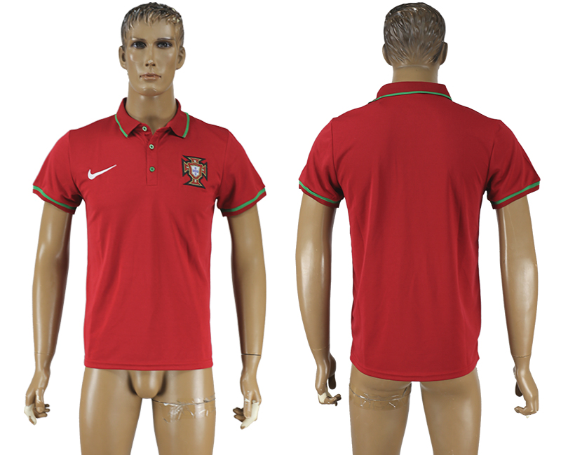 Men 2018 World Cup Portugal red polo shirt soccer jersey