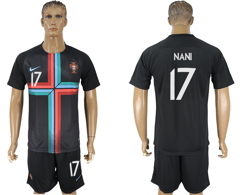 Men 2018 World Cup Portuguese black training suit 17 soccer jersey