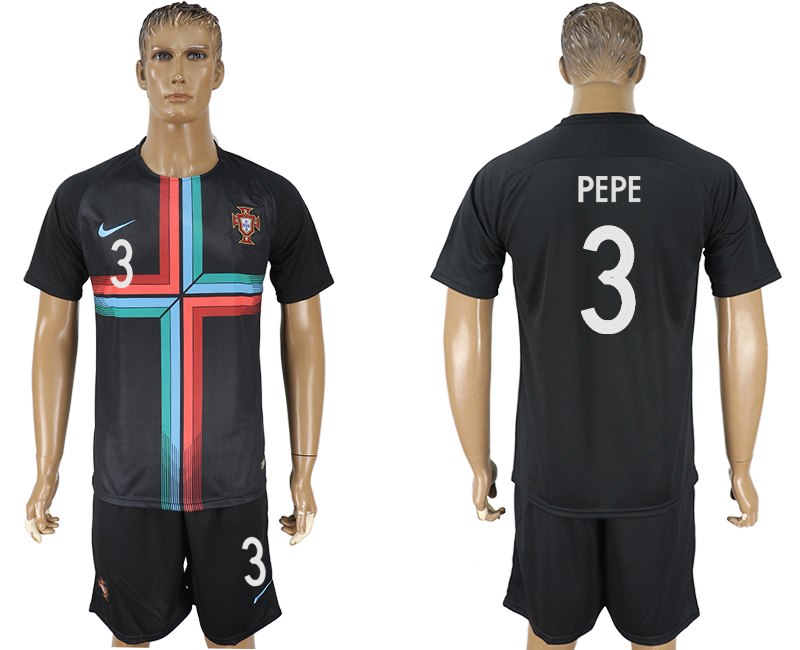 Men 2018 World Cup Portuguese black training suit 3 soccer jersey