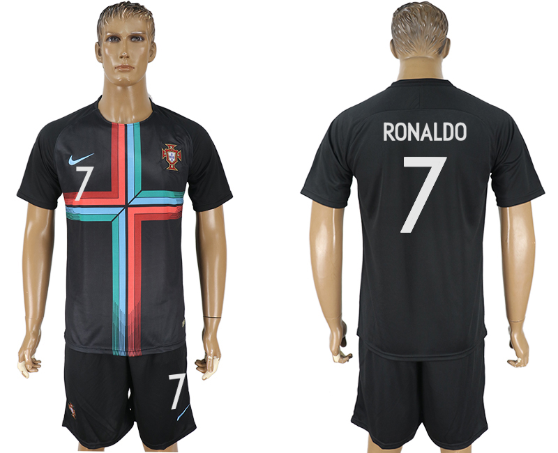 Men 2018 World Cup Portuguese black training suit 7 soccer jersey
