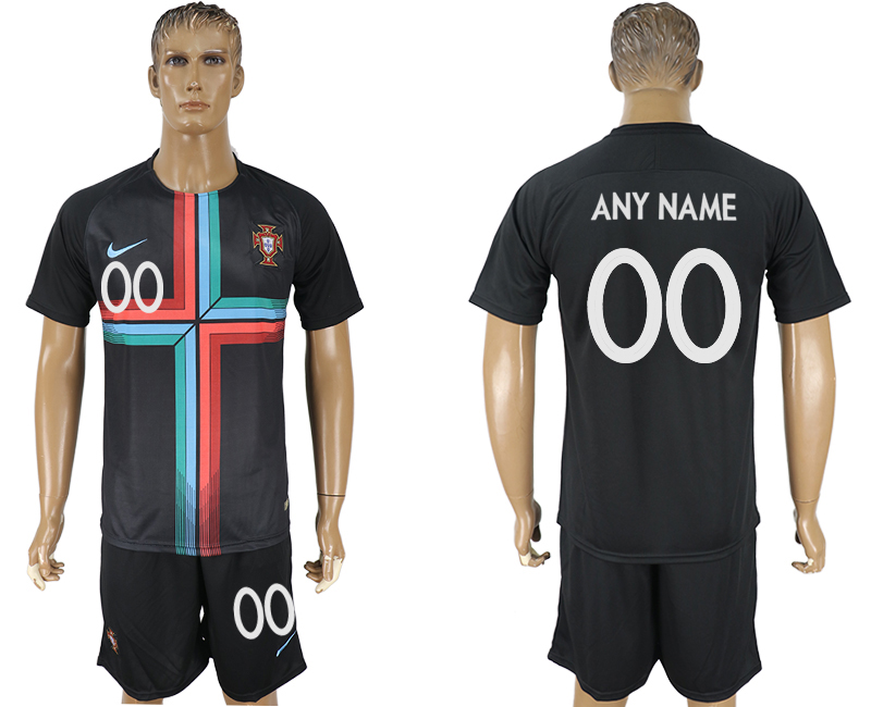 Men 2018 World Cup Portuguese black training suit customized soccer jersey