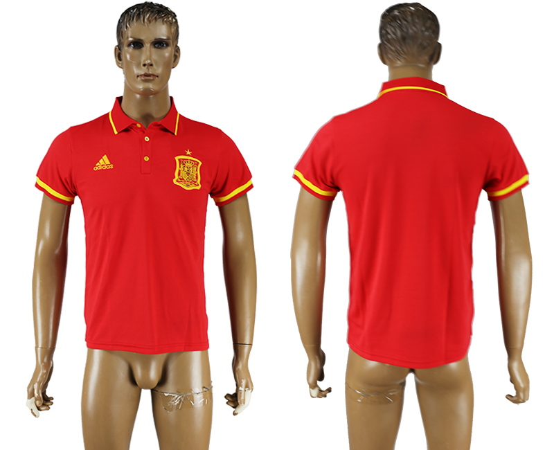 Men 2018 World Cup Spain red polo shirt soccer jersey