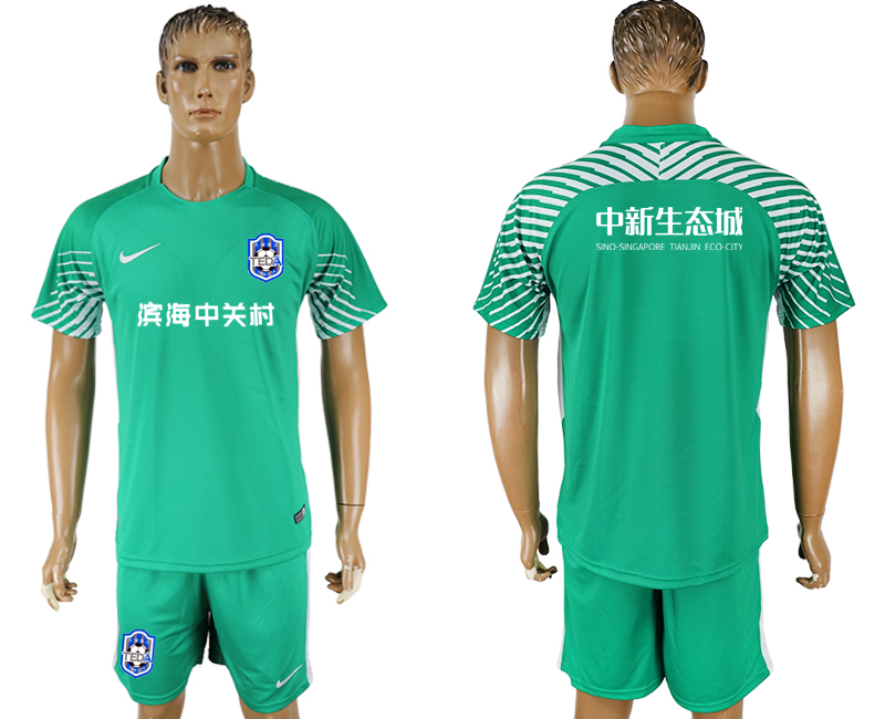 Men 2018-2019 club Tianjin Teda green goalkeeper soccer jersey