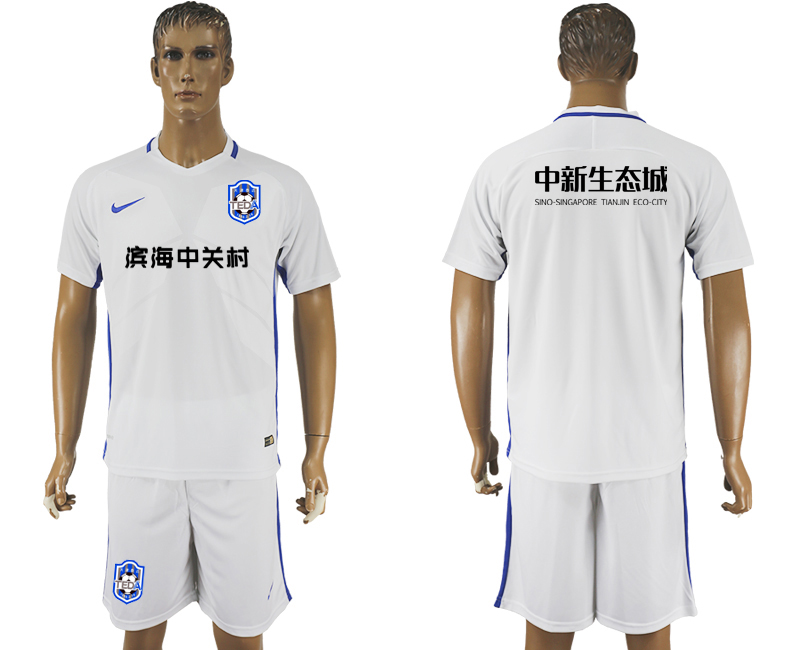 Men 2018-2019 club Tianjin Teda home white soccer jersey1