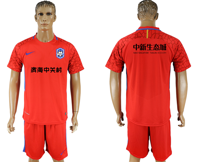 Men 2018-2019 club Tianjin Teda red goalkeeper soccer jersey