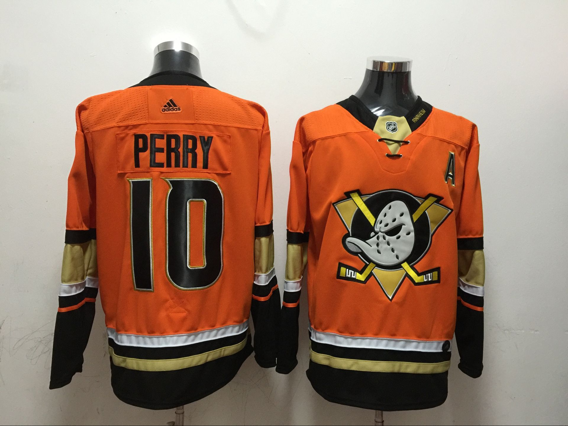 Men Anaheim Ducks 10 Perry Orange Adidas Hockey Stitched NHL Jerseys