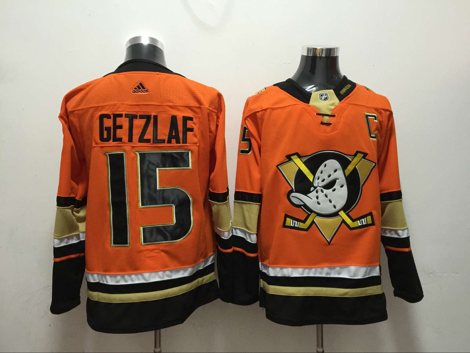 Men Anaheim Ducks 15 Getzlaf Orange Adidas Hockey Stitched NHL Jerseys