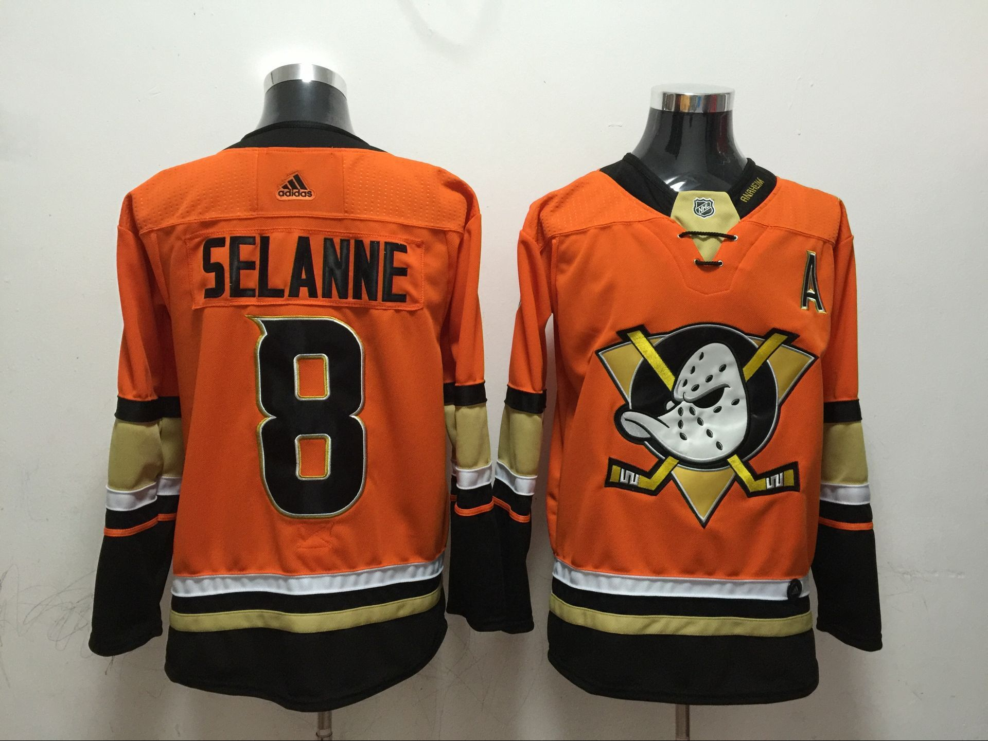 Men Anaheim Ducks 8 Selanne Orange Adidas Hockey Stitched NHL Jerseys
