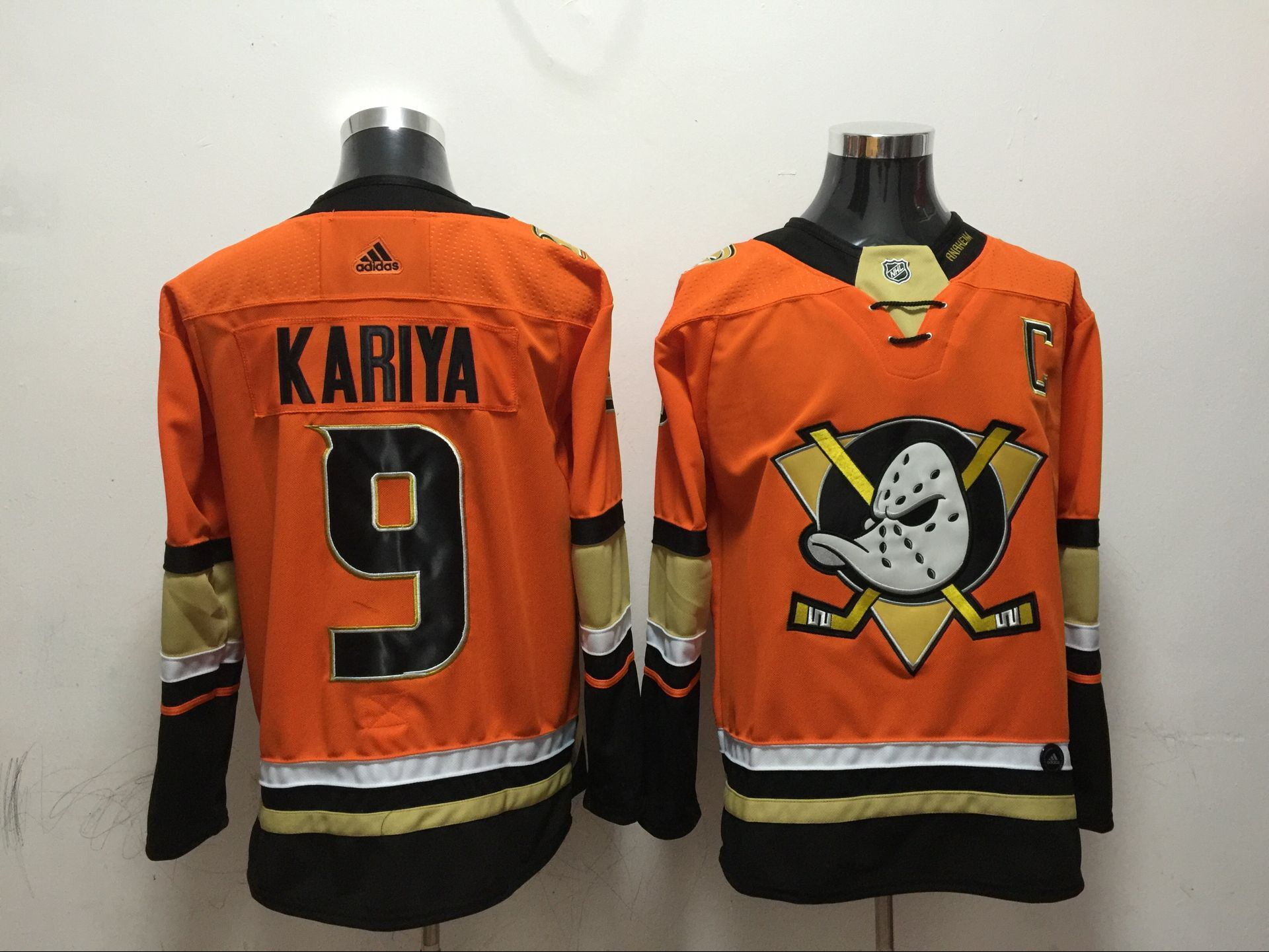 Men Anaheim Ducks 9 Kariya Orange Adidas Hockey Stitched NHL Jerseys