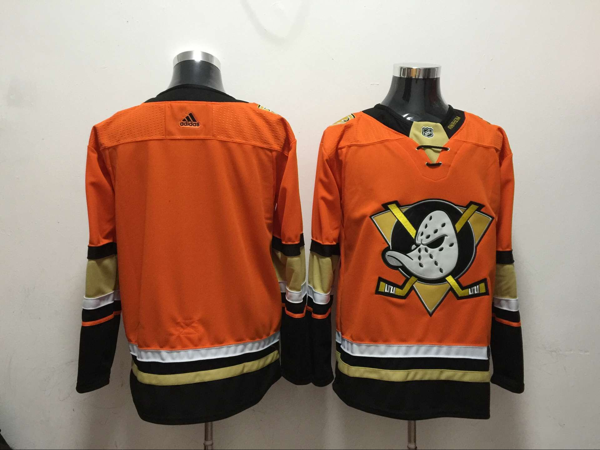 Men Anaheim Ducks Blank Orange Adidas Hockey Stitched NHL Jerseys