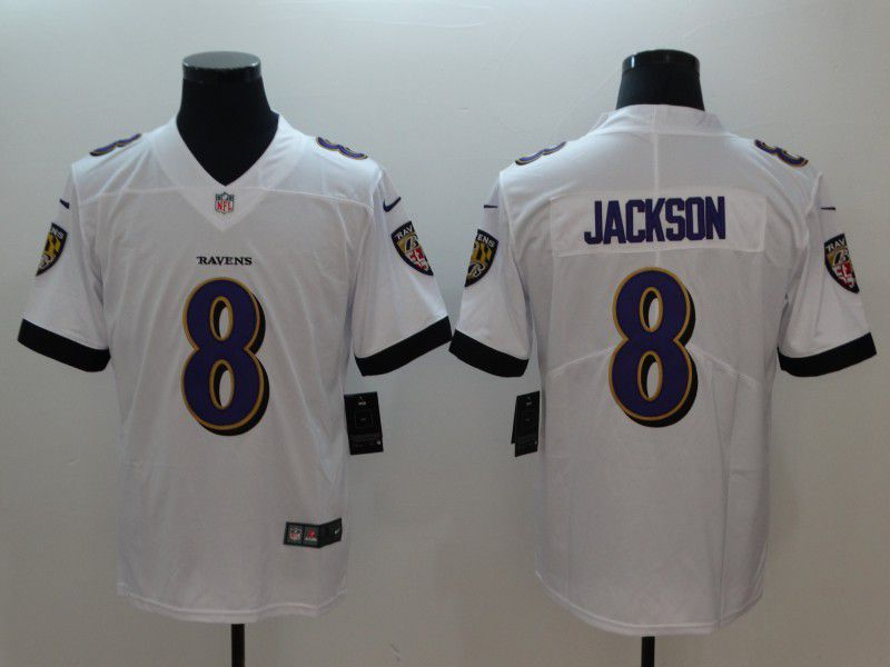 Men Baltimore Ravens 8 Jackson White Vapor Untouchable Limited Player Nike NFL Jerseys