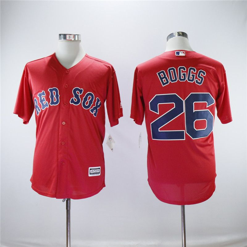 Men Boston Red Sox 26 Boggs Red Game MLB Jerseys