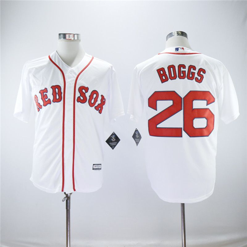 Men Boston Red Sox 26 Boggs White Game MLB Jerseys