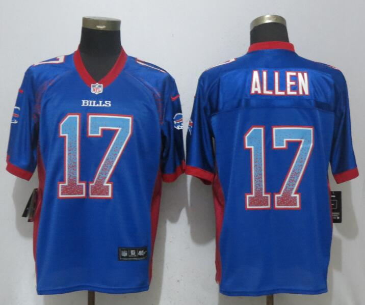 Men Buffalo Bills 17 Allen Blue Drift Fashion Blue Elite NFL Jerseys