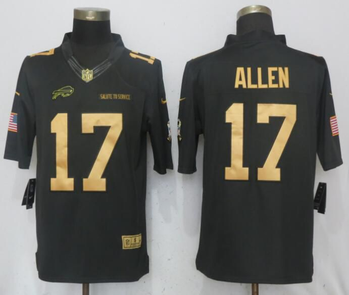 Men Buffalo Bills 17 Allen Gold Anthracite Salute To Service Limited Nike NFL Jerseys