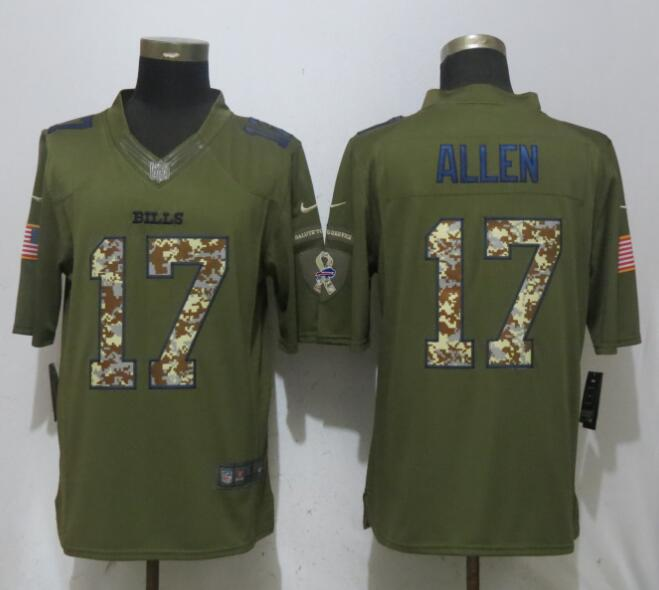 Men Buffalo Bills 17 Allen Green Salute To Service Limited NFL Jerseys
