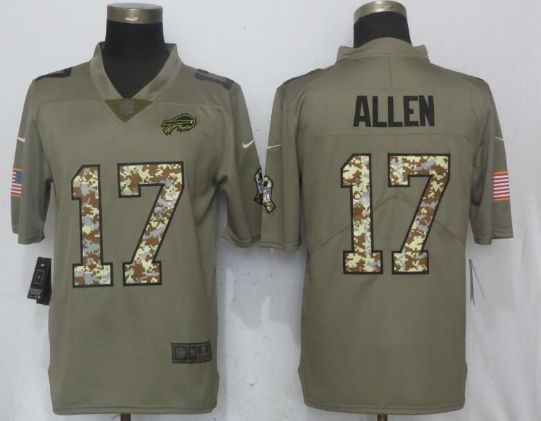 Men Buffalo Bills 17 Allen Olive Camo Carson Salute to Service Limited Nike NFL Jerseys