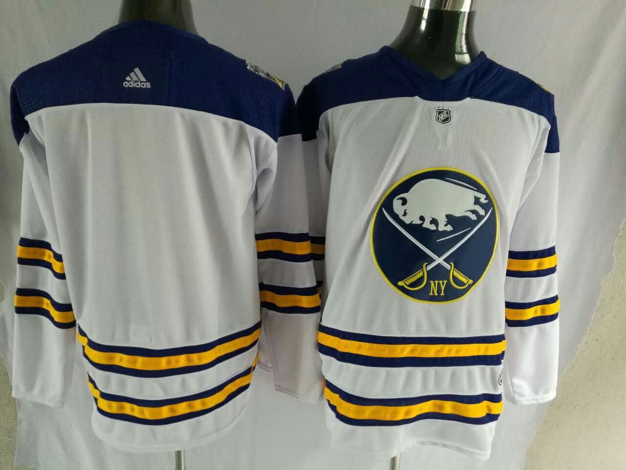 Men Buffalo Sabres Blank White Hockey Stitched Adidas NHL Jerseys