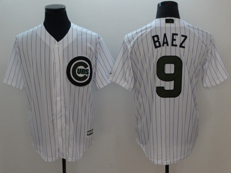 Men Chicago Cubs 9 Baez White Commemorative Edition Game MLB Jerseys