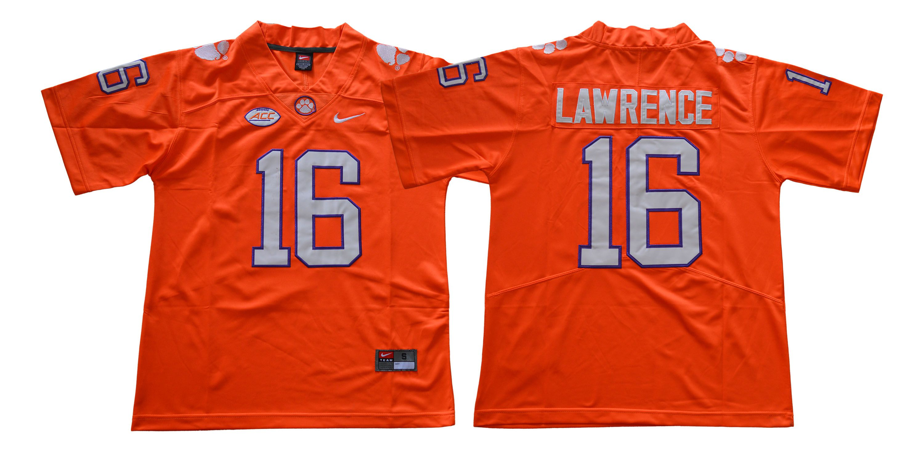 Men Clemson Tigers 16 Lawrence Orange NCAA Jerseys