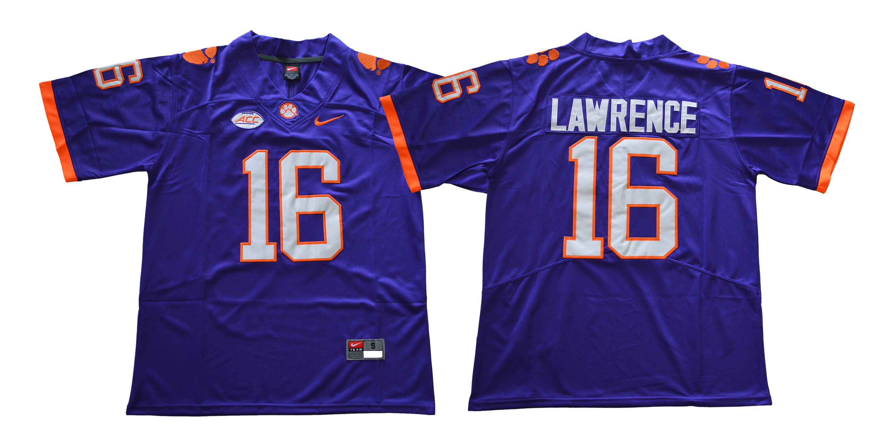 Men Clemson Tigers 16 Lawrence Purple NCAA Jerseys