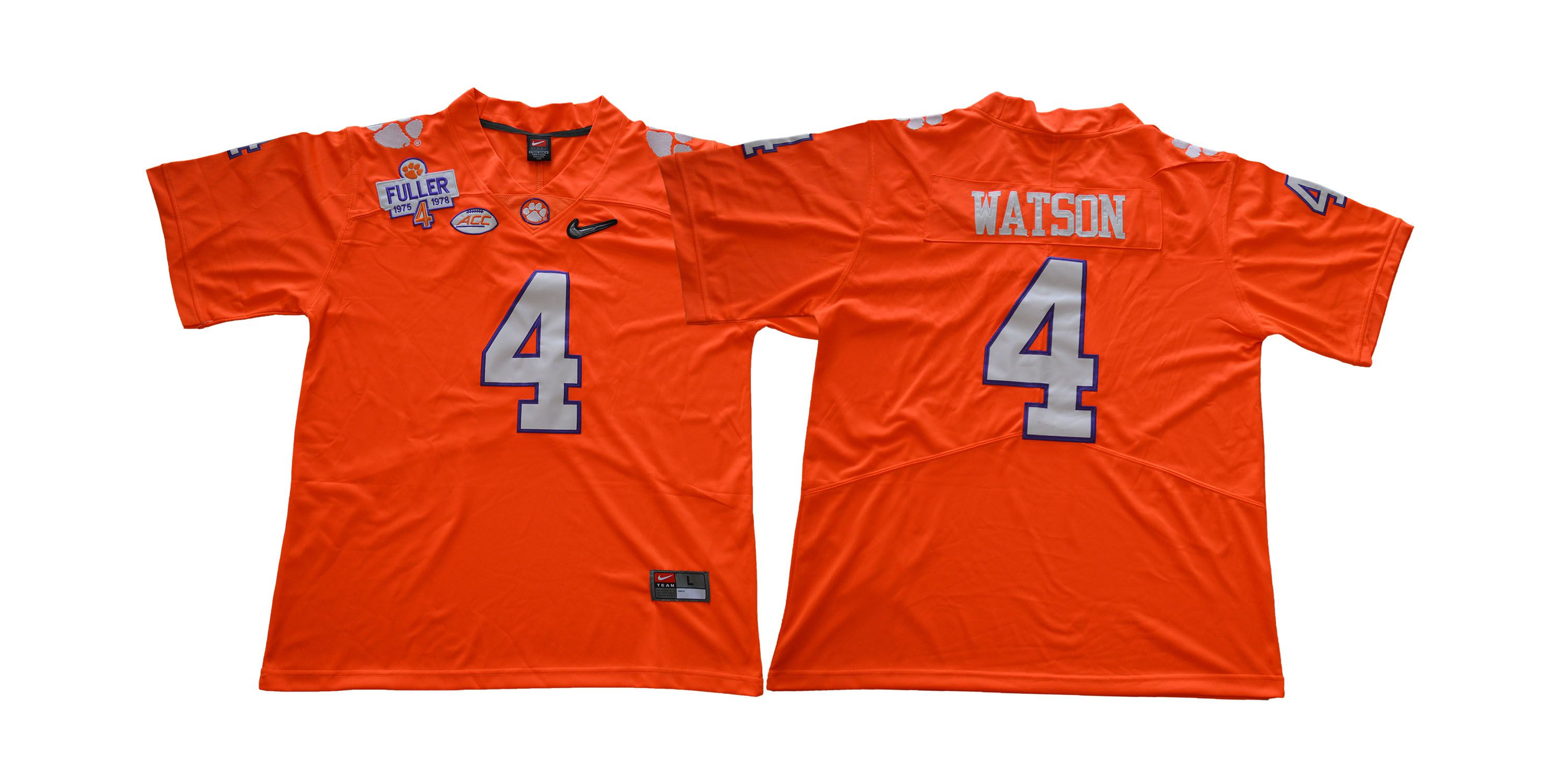 Men Clemson Tigers 4 Watson Orange NCAA Jerseys