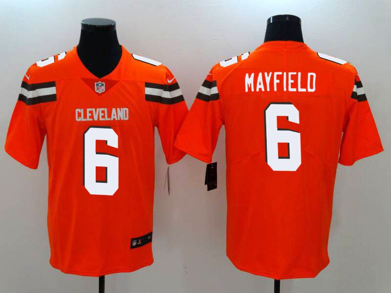 Men Cleveland Browns 6 Mayfield Orange Nike Vapor Untouchable Limited NFL Jerseys