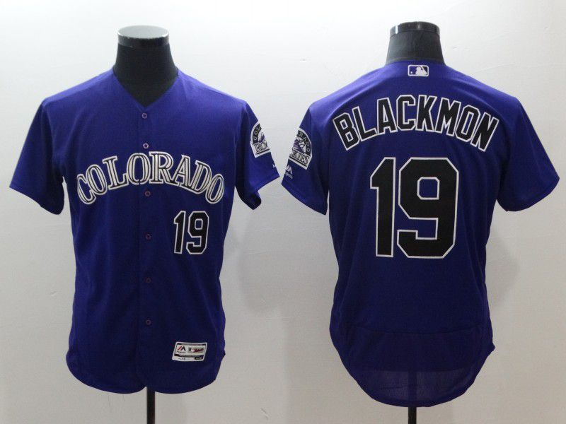 Men Colorado Rockies 19 Blackmon Purple Elite MLB Jerseys