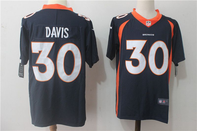 Men Denver Broncos 30 Davis Blue Nike Vapor Untouchable Limited NFL Jerseys
