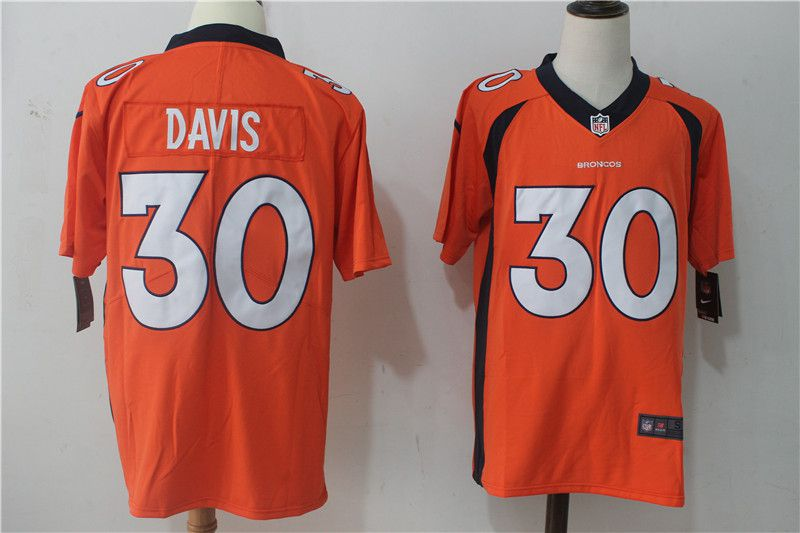 Men Denver Broncos 30 Davis Orange Nike Vapor Untouchable Limited NFL Jerseys