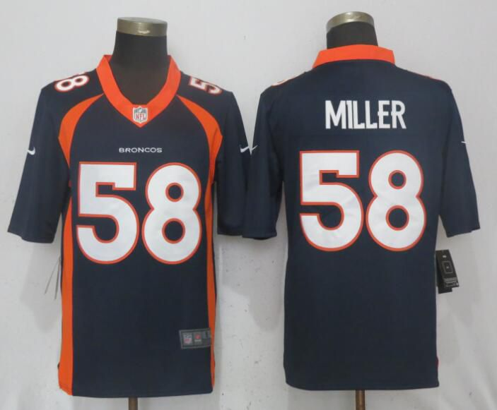 Men Denver Broncos 58 Miller Blue Vapor Untouchable Limited Playe Nike NFL Jerseys