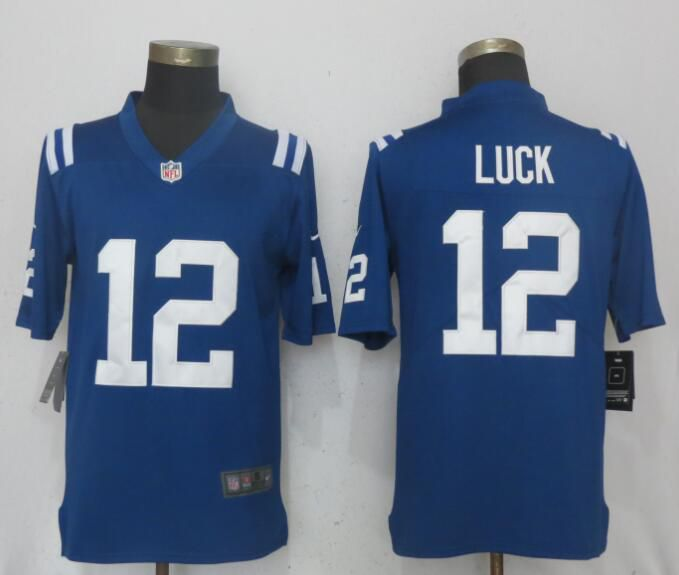 Men Indianapolis Colts 12 Luck Blue Vapor Untouchable Limited Player Nike NFL Jerseys
