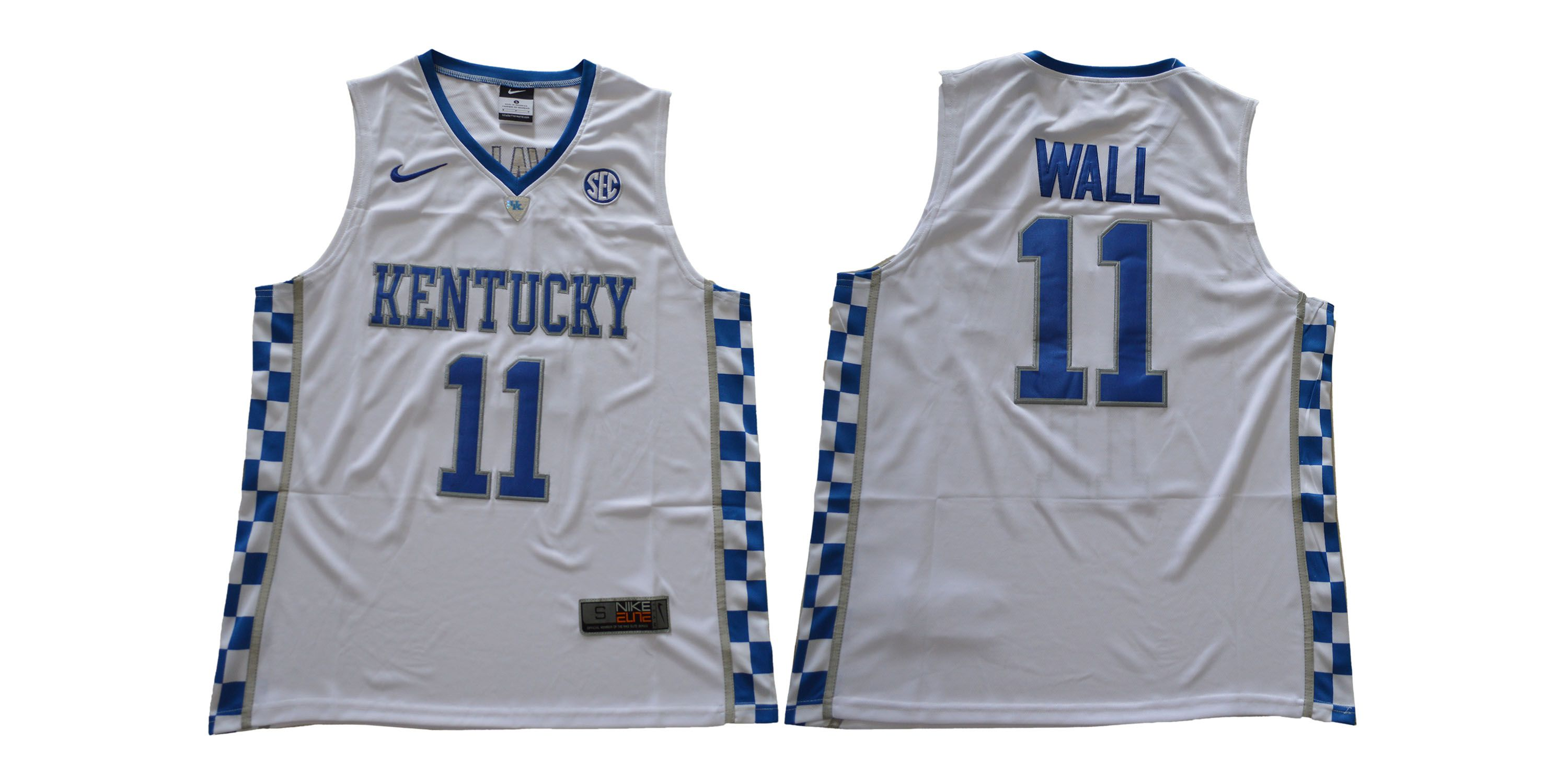 Men Kentucky Wildcats 11 Wall White NCAA Jerseys