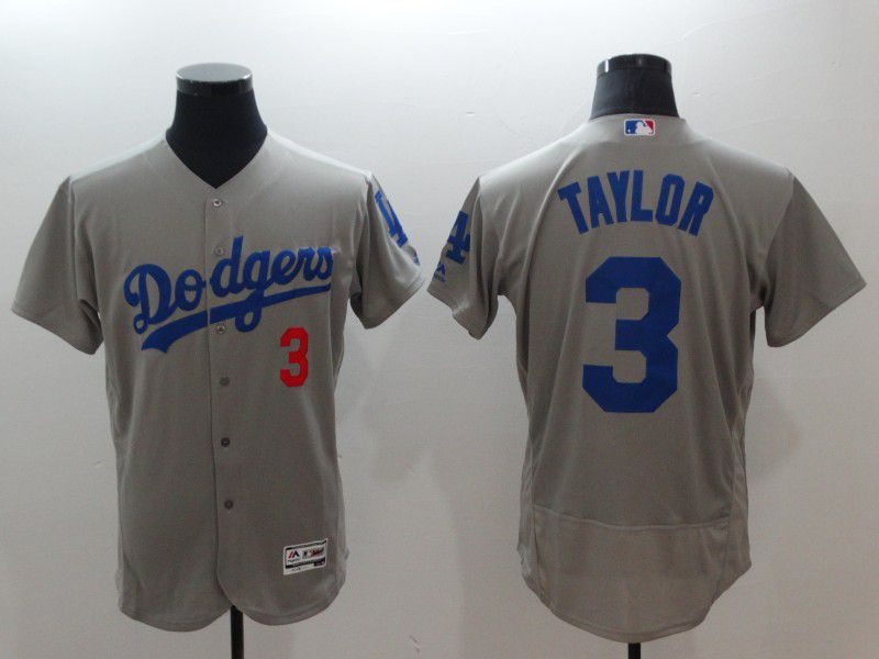 Men Los Angeles Dodgers 3 Taylor Grey Elite MLB Jerseys