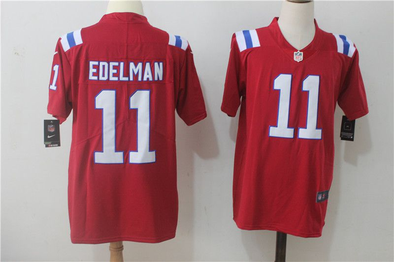Men New England Patriots 11 Edelman Red Nike Vapor Untouchable Limited NFL Jerseys