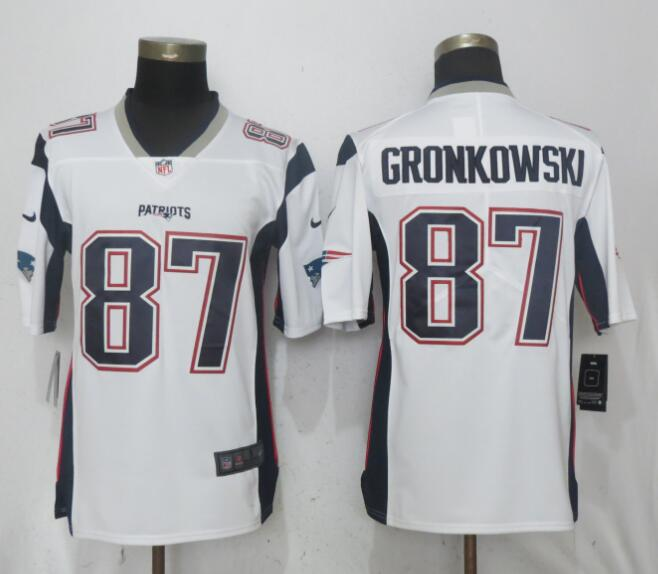Men New England Patriots 87 Gronkowski White Vapor Untouchable Limited Playe NFL Jerseys