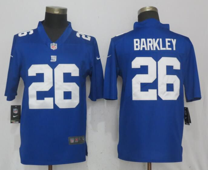 Men New York Giants 26 Barkley Blue Nike Vapor Untouchable Limited NFL Jerseys