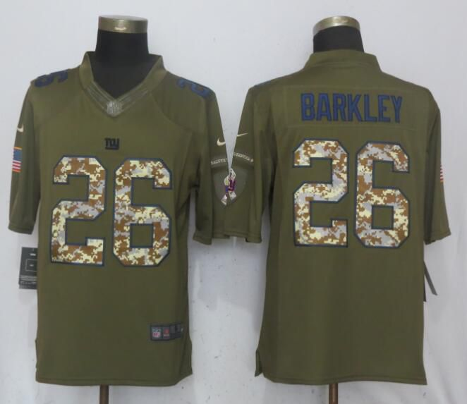 Men New York Giants 26 Barkley Green Salute To Service Limited Nike NFL Jerseys