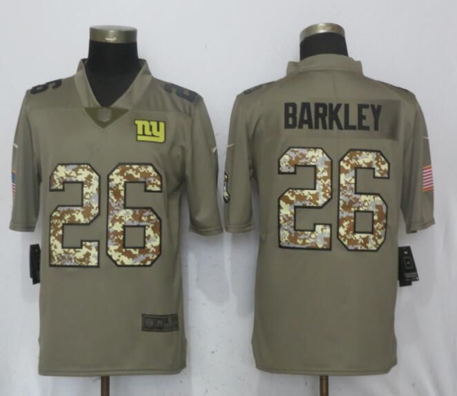 Men New York Giants 26 Barkley Olive Camo Carson Salute to Service Limited Nike NFL Jerseys