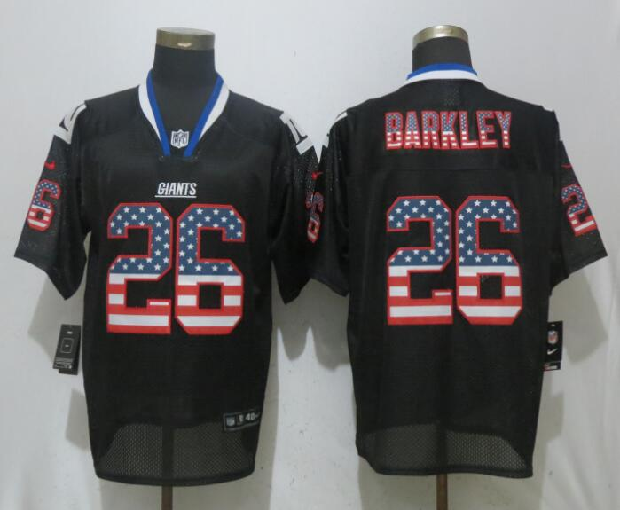 Men New York Giants 26 Barkley USA Flag Fashion Black Elite NFL Jerseys